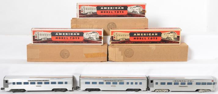 3 American Model Toys aluminum Santa Fe passenger cars