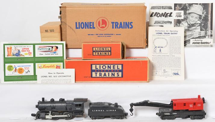 Partial Lionel 502 boxed set from 1955 with 1615 steam locomotive