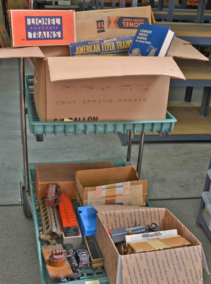 Cart lot of O gauge and standard gauge parts, track, trains and more