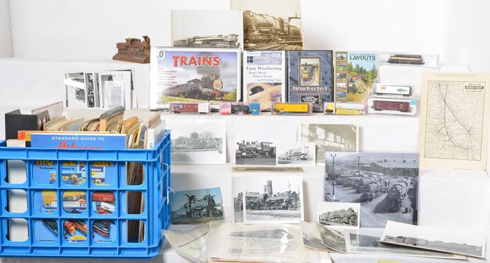 Group of misc. model train and Railroad paper, photographs, DVDs, and more