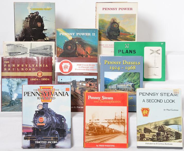 Group of 11 Pennsylvania Railroad books. Morning Sun, Pennsy Power, Don Ball Jr, etc