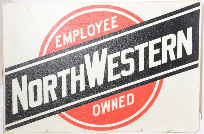 Large Chicago and Northwestern railroad sign