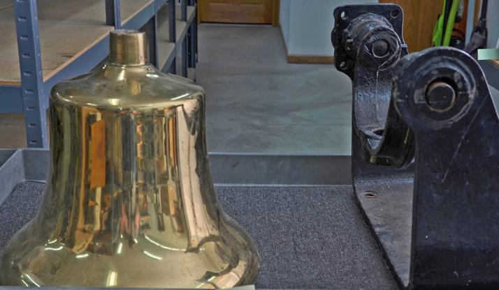 Large brass steam locomotive bell
