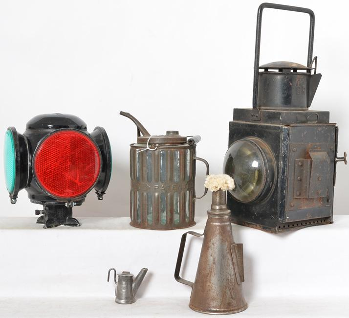 Railroadiana including BR lantern, Daisy oil can, Adlake switch lantern, and Erie shop torch