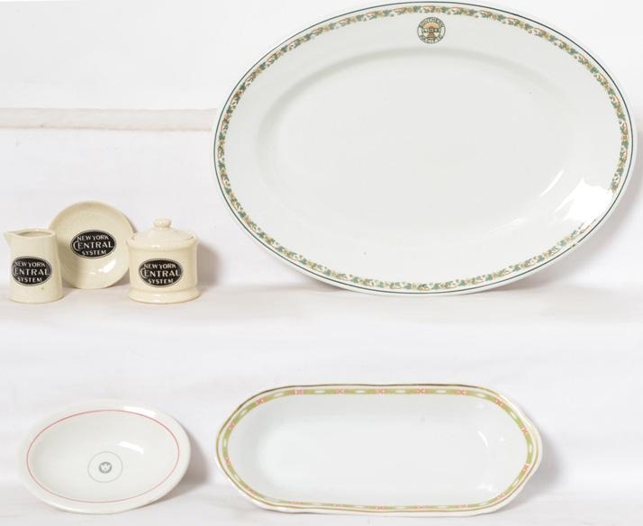 6 pieces of railroad china, Southern Pacific platter, Monon bowl, NYC sugar, etc