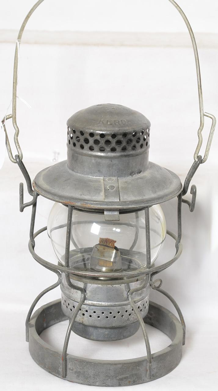 Adlake B&O clear globe railroad lantern with weighted bottom