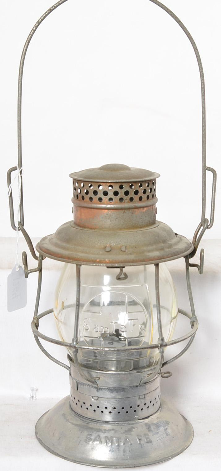 Bell bottom Santa Fe lantern with embossed Santa Fe globe