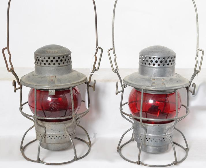 Two Milwaukee Road red globe Adlake Kero lanterns