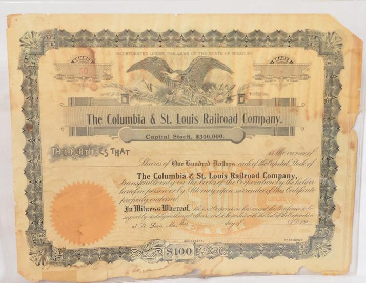 Highly unusual unissued Columbia and St. Louis Railroad Company stock certificate