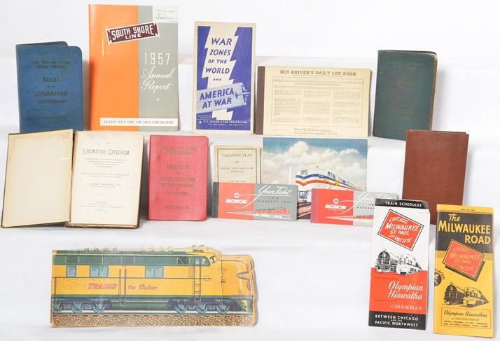 Group of paper railroadiana EJ&E, Monon, Pullman, Milwaukee Road etc