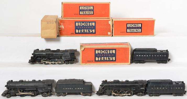Lionel postwar steam locomotives and tenders 2029, 1664, 2026