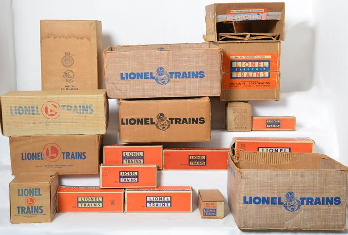 Large lot of Lionel postwar set, car, and accessory empty boxes
