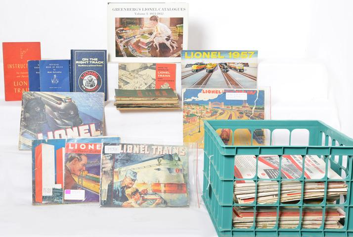 Lot of Lionel paper and books catalogs, Greenbergs, etc