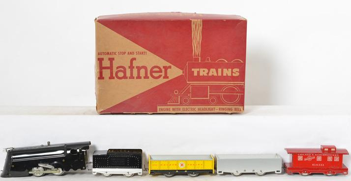 Hafner tinplate steam freight windup set with box, track, instructions