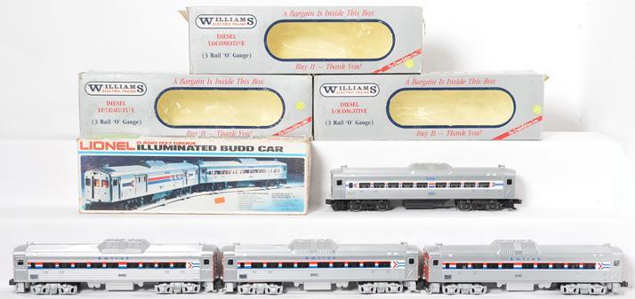3 Williams Amtrak Budd Cars #420, 421, 422 and Lionel Amtrak 8869 Budd Car