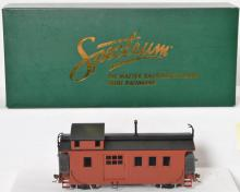 Spectrum On30 side door wood Caboose, painted, unlettered, oxide red