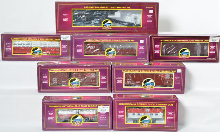 8 MTH Western Maryland Freight Cars, 98290, 98286, 93009, 96070