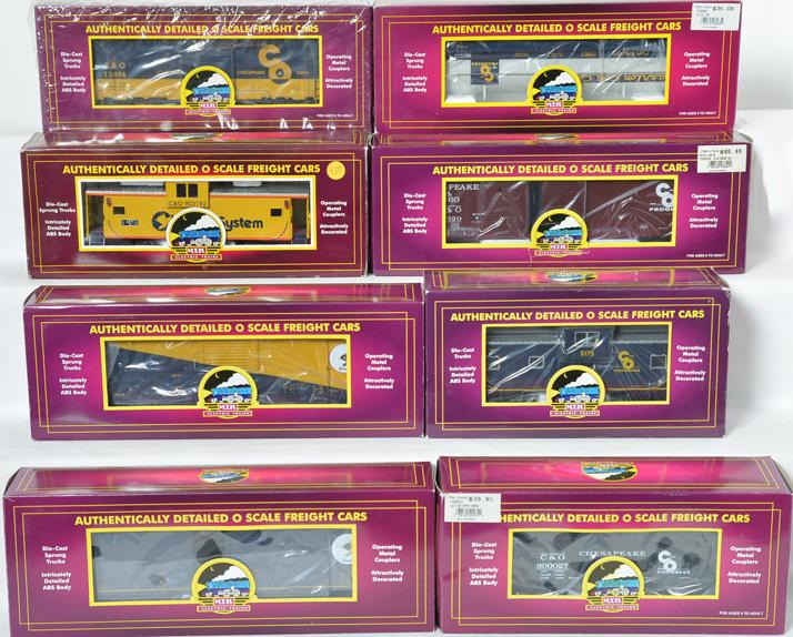 8 MTH C & O Freight Cars, 93419, 97416, 98263, 93584
