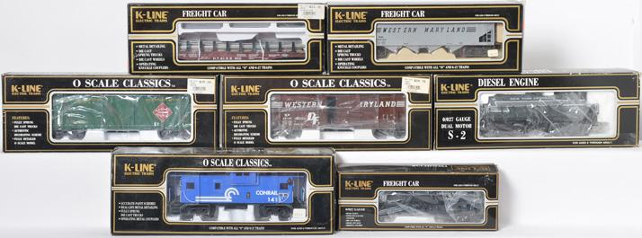 7 K Line Switcher and Freight Cars, 2321, 3421, 1991