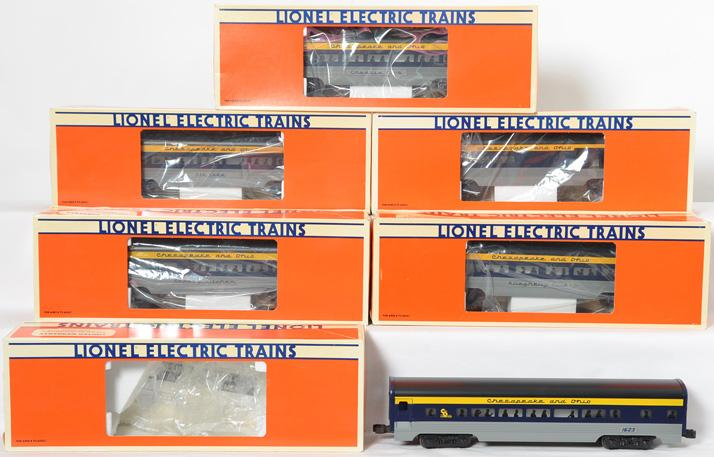 6 Lionel C&O Aluminum Passenger Cars 19145-19150