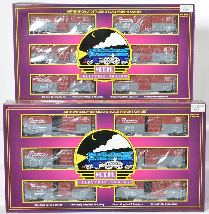 2 MTH New York Central Pacemaker 6 Car Boxcar Set, 90089, 90099