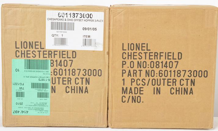 6 Lionel 11873 C&O Offset Hoppers