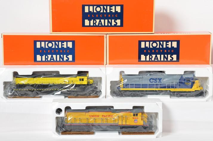 3 Lionel Dash-8 40C Locos, 18205, 18215, 18211