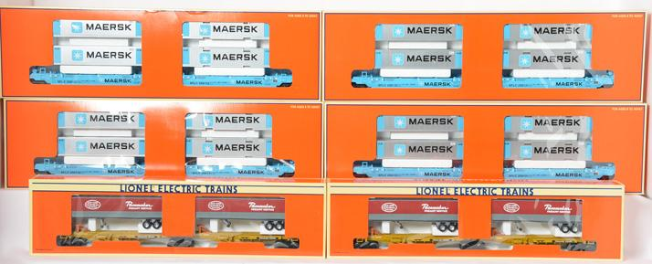 6 Lionel TTUX Flat Sets, 4 36935 Maersk Maxi & 2 16904 New York Central