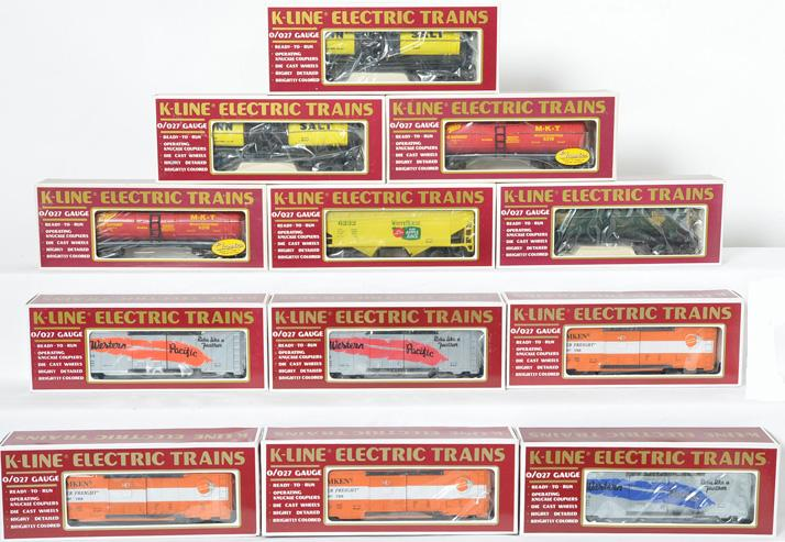 12 K Line freight cars, 90007, 6456, 6466, 6325, 6232, 6325