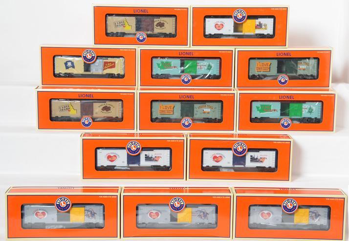13 Lionel I LOVE State Boxcars, 29929, 29903, 29928, 29929