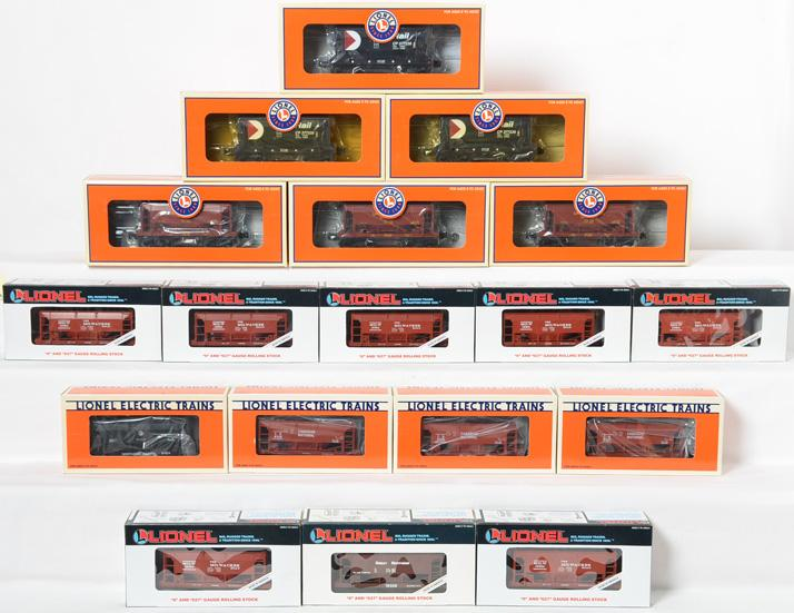 18 Lionel Ore Cars, 19301 Milwaukee Road, 6126 CP, 17805 CP Rail, 17804 UP