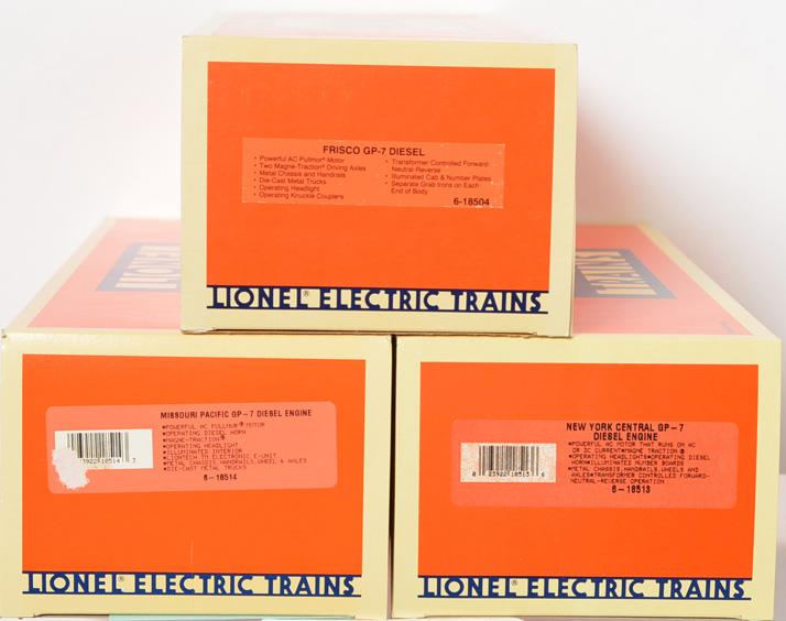 3 Lionel GP-7, 18513 NYC, 18514 MP, 18504 Frisco