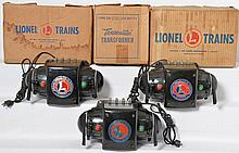 3 postwar Lionel 275 Watt ZW transformers with original boxes