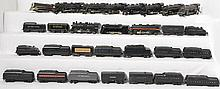 Large group of Lionel and Marx O gauge steam locomotives