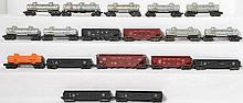Large group of Lionel postwar tank cars, gondolas, and hoppers 6462, 6456, 6425, etc