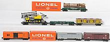 Group of Lionel postwar cars 6475, 3362, 6828, 6361, 3484, 6464-175, 6464-725