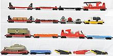 Large group of 25 postwar Lionel flat cars 3512, 6818, 3830, 6414, 6424, 3620, 6800