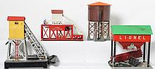 Lionel 138 water tower, 97 coal elevator, 352 icing station, and 497 coal loader