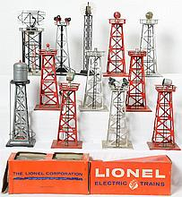 Group of 12 Lionel and Colber light towers and beacons