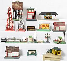 Large group of American Flyer accessories Sam the Semaphore, Oil Drum Loader, Mini Craft