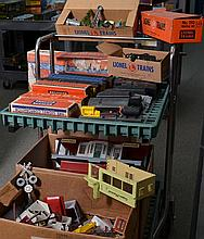 Cart lot of Lionel postwar boxes, trains, Plasticville and more
