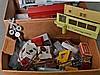 Cart lot of Lionel postwar boxes, trains, Plasticville and more