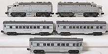 Lionel postwar Union Pacific silver passenger set 2023, 2422, 2421, 2423