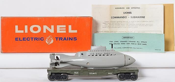 Clean Lionel 3830 olive drab USMC flat with submarine in original box