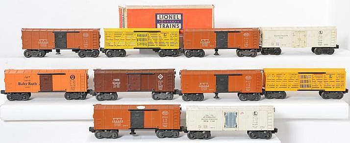 10 Lionel postwar boxcars 3473, 3464, 6482, 3464, 6656, 3464, etc