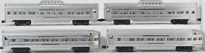 Four Lionel aluminum passenger cars 2531, 2531, 2532, 2532