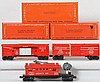 3 Lionel cars with original boxes 6470, 3535, and 6530