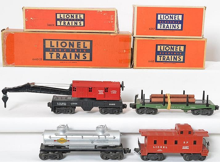 4 Lionel freight cars 6460-25, 6357, 3461X, and 6465 in original boxes