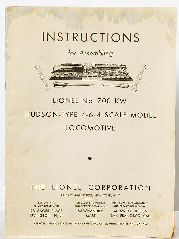 Complete and original Lionel 700 KW instruction booklet