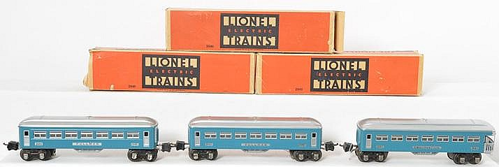 3 Lionel blue and silver prewar passenger cars 2640, 2640, 2641